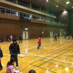 とても寒い日の体育館での練習